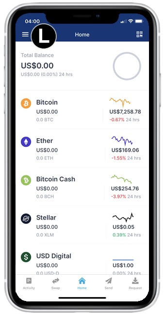 blockchain app menu