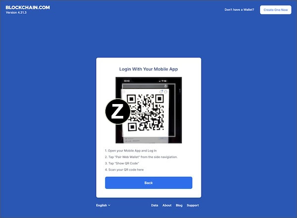 blockchain web wallet login via QR code