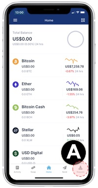 send and receive bitcoin iOS